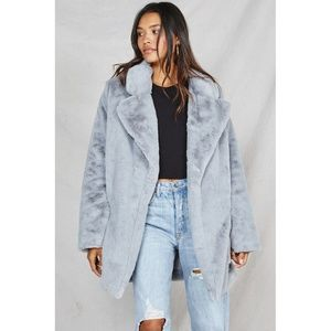 Sage Anthropologie Lucy In The Sky Faux Fur Jacket